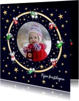 Kerst - foto kaart cirkel met mini engeltjes