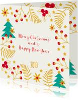 Kerstkaarten - Kerst-items met veel goudlook en jaartal 2019