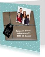 Kerstkaarten - Kerst Kado Blauw - HR