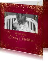 Kerstkaarten - Kerst klassiek rode fotokaart gouden sterretjes en hartjes