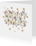 Kerstkaarten - Kerst Letters & Blaadjes