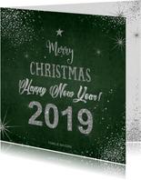 Kerst moderne kerstkaart met zilverkleurige typografie 2019