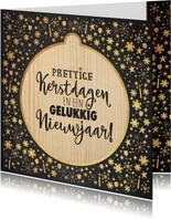Kerstkaarten - Kerst sfeervolle kaart krijtbord met kerstbal hout look