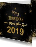 Kerst sfeervolle zwarte kaart typografische gouden tekst