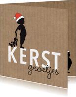 Kerstkaarten - Kerst silhouet jongen knuffel Kraft - MW