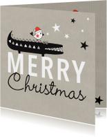 Kerstkaarten - Kerst silhouet krokodil vogel kraft - MW