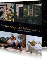 Kerst-verhuiskaart donkere achtergrond met sierlijke letters