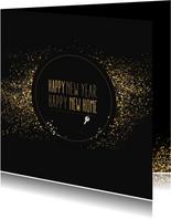 Kerstkaarten - Kerst verhuiskaart met goudlook confetti en dust