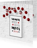Zakelijke kerstkaarten - Kerst zakelijk interieur poster en kerstballen