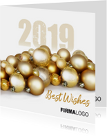 Zakelijke kerstkaarten - Kerstballen goud logo zakelijk 2019