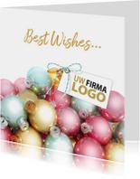 Zakelijke kerstkaarten - Kerstballen label pastel logo bedrijf