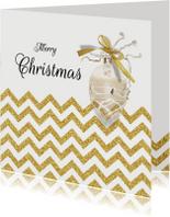 Kerstkaarten - Kerstkaart chevron goud met eigen foto binnenzijde