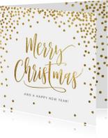 Kerstkaart confetti goud wit