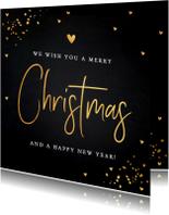 Kerstkaarten - Kerstkaart donker goud typografie confetti