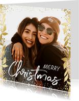 Kerstkaart feestelijk gouden kader met confetti