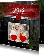 Kerstkaarten - Kerstkaart foto op hout 2019