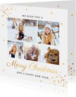Kerstkaarten - Kerstkaart fotocollage wit goud confetti