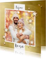 Kerstkaarten - Kerstkaart goud kader 2019