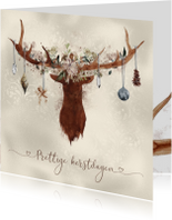 Kerstkaart hertengewei met versiering