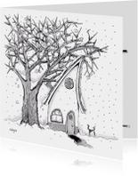 Kerstkaarten - Kerstkaart huisje in de sneeuw