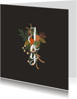 Kerstkaarten - Kerstkaart Joy bloemen -HM