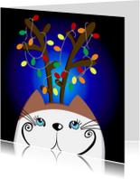 Kerstkaarten - Kerstkaart kat in de nacht