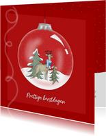 Kerstkaarten - Kerstkaart - kerstbal met Rudolf