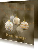 Kerstkaart kerstballen goud met wit op brons