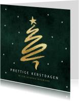 Kerstkaarten - Kerstkaart kerstboom goud