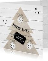 Kerstkaarten - Kerstkaart kerstboom hout