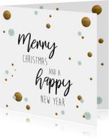 Kerstkaarten - Kerstkaart. Merry Christmas and a happy new year mint/goud