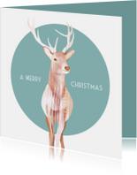 Kerstkaarten - Kerstkaart met een geïllustreerd rendier