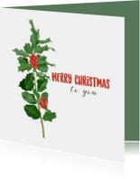 Kerstkaarten - Kerstkaart met een illustratie van hulst