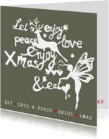 Kerstkaarten - Kerstkaart  met kerstillustraties en teksten (groen/wit)