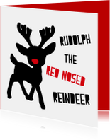 Kerstkaart met Rudolph the red nosed reindeer