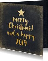 Kerstkaart met zwarte achtergrond en gouden letters
