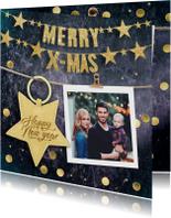 Kerstkaarten - Kerstkaart mooi met gouden slinger