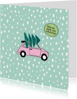Kerstkaarten - Kerstkaart retro auto kerstboom