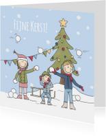 Kerstkaarten - Kerstkaart Sneeuwgevecht LFZ