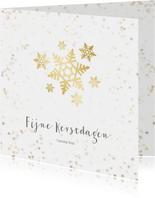 Kerstkaart sneeuwvlok - een gouden kerst