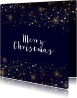 Kerstkaarten - Kerstkaart sterren goud glitterlook