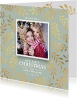 Kerstkaart stijlvol met kersttakken goud