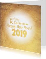 Kerstkaart stijlvolle goudkleurige kaart 2019