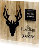Kerstkaarten - Kerstkaart stoer met hert op hout
