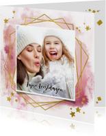 Kerstkaart trendy roze verf strepen met goud kader