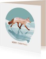Kerstkaarten - Kerstkaart van een vos op het ijs