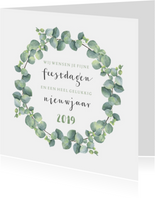Kerstkaarten - Kerstkaart vierkant eucalyptus tekst
