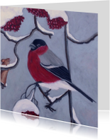 Kerstkaarten - Kerstkaart Vogeltje in de sneeuw