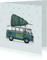 Kerstkaart VW bus groen av