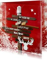 Kerstkaarten - Kerstkaart wegwijzer rood 2019